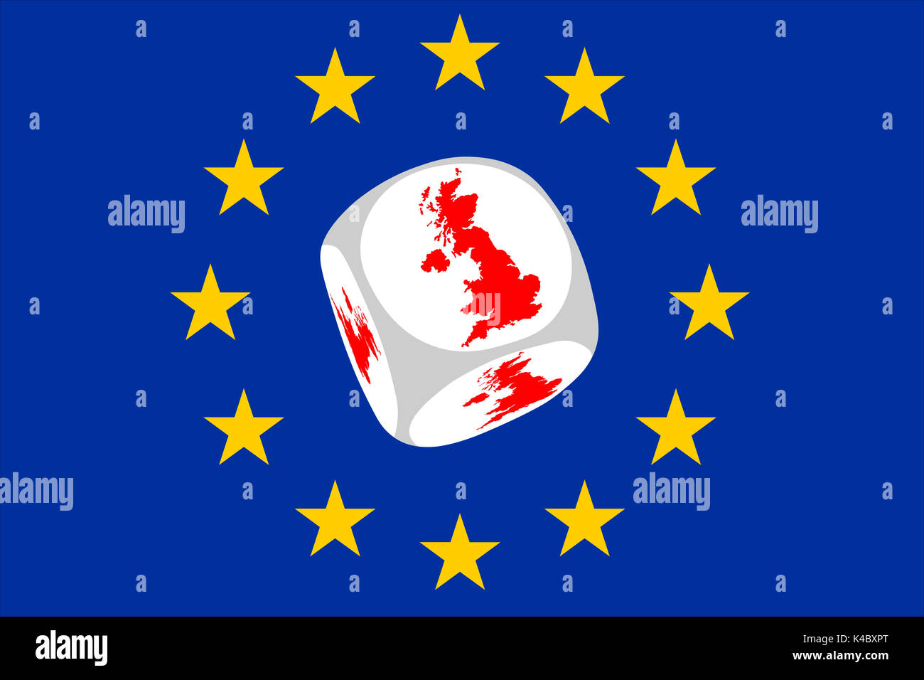 Brexit Flag Of The European Unium With Brexit Cube Stock Photo
