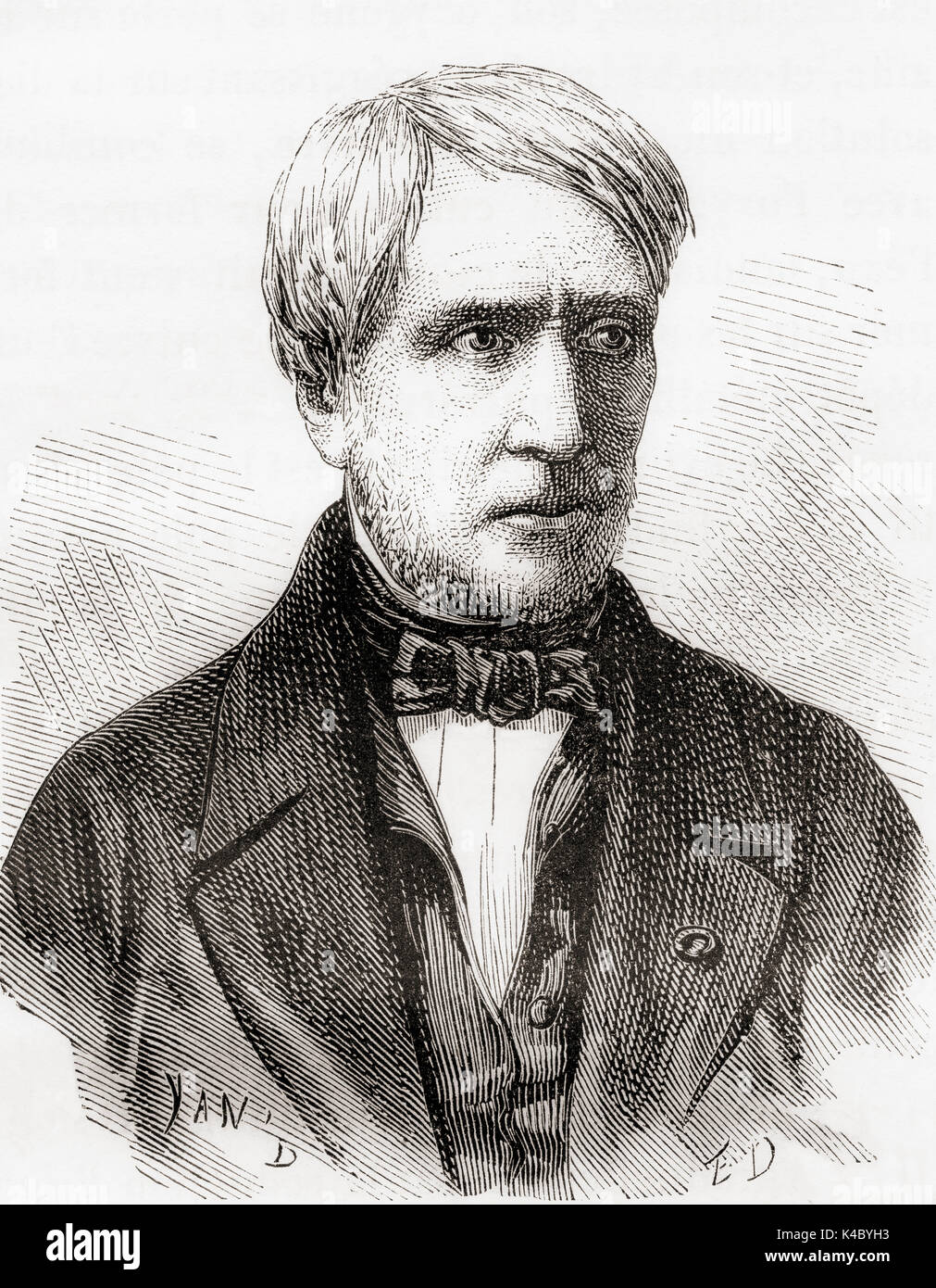 Antoine César Becquerel, 1788 –  1878.  French scientist and a pioneer in the study of electric and luminescent phenomena.  From Les Merveilles de la Science, published 1870. - Stock Image