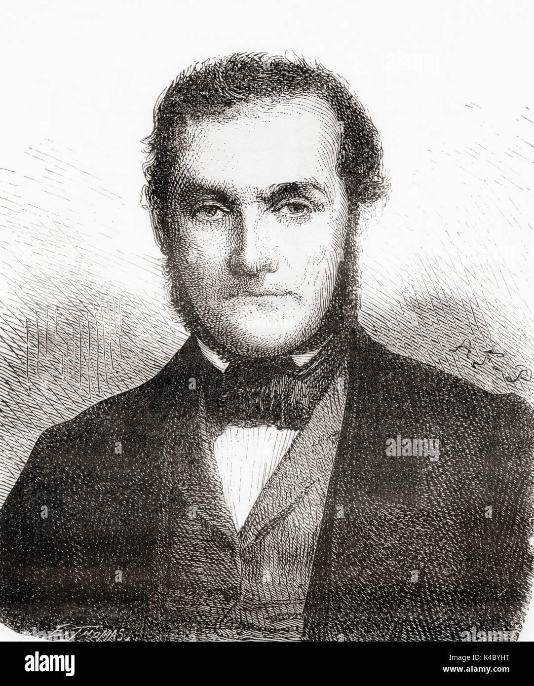 Robert Wilhelm Eberhard Bunsen, 1811 - 1899.  German chemist.   From Les Merveilles de la Science, published 1870. - Stock Image