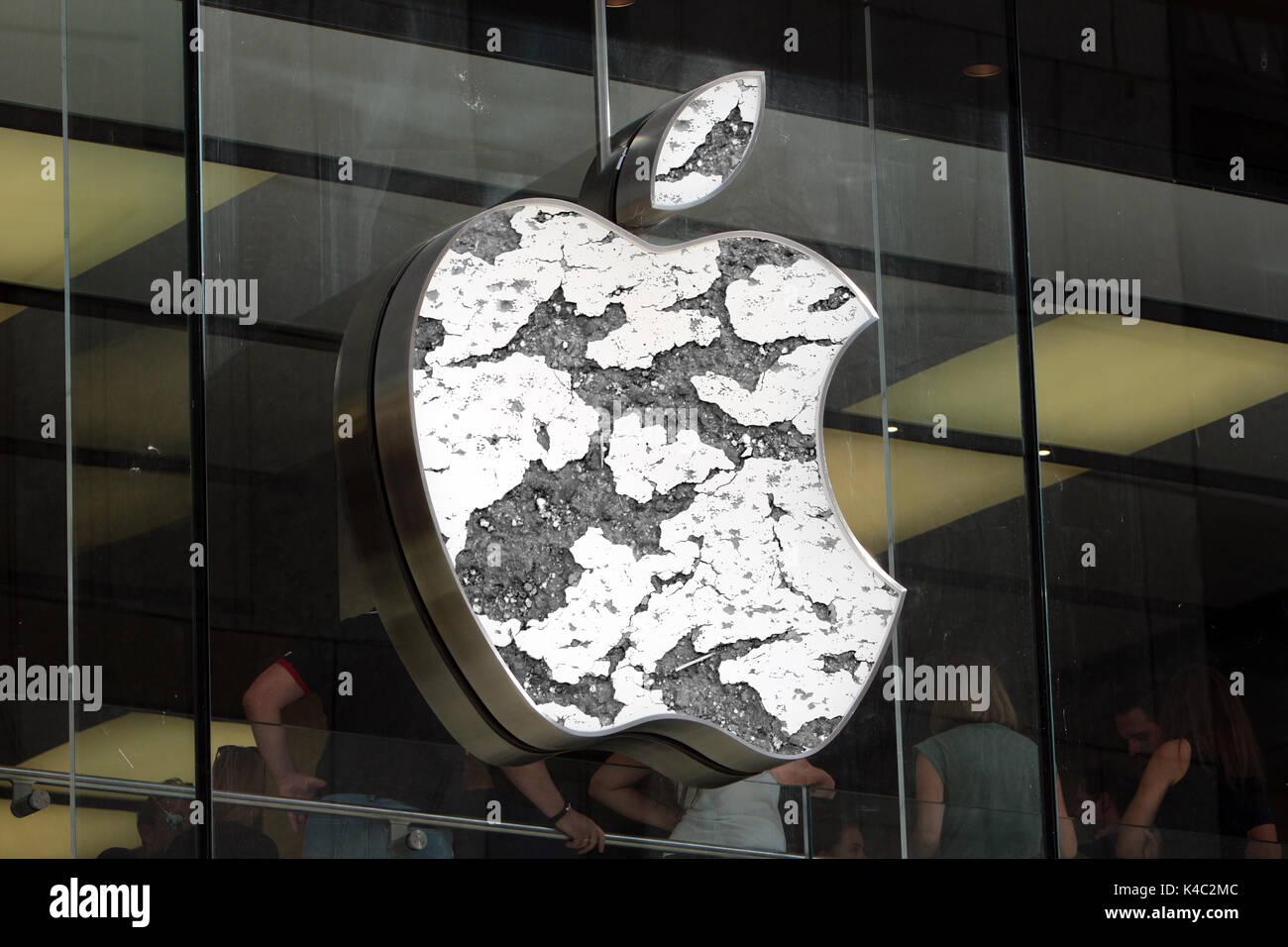 Eroding Apple Sign Stock Photo