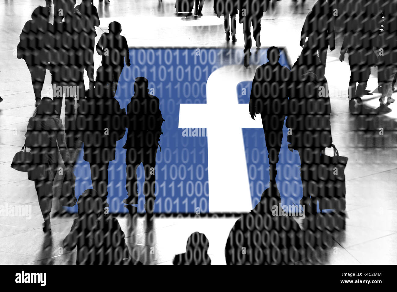 Facebook Sign With Silhouettes Of People And Binary Code - Stock Image