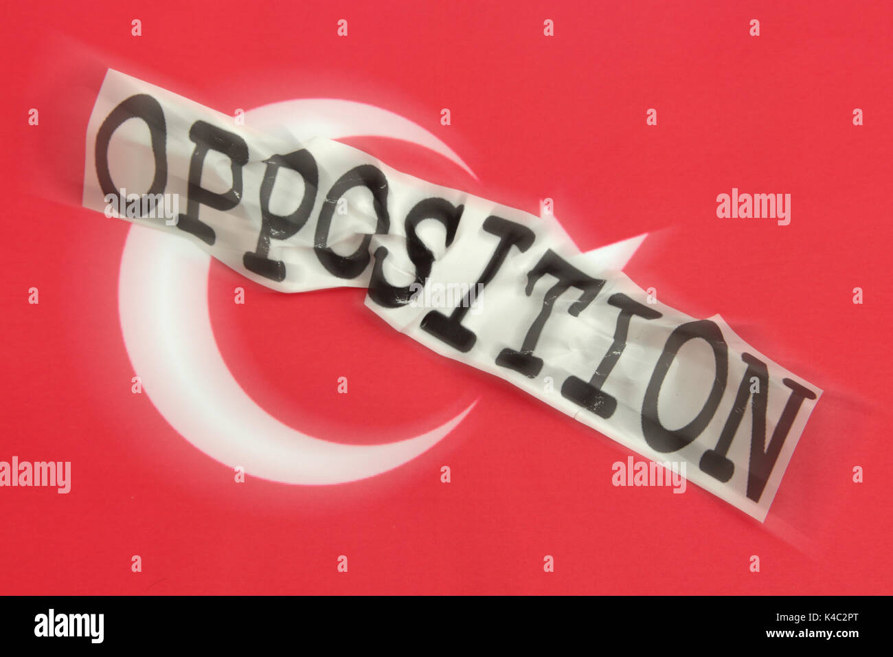 Destroyed Word Opposition With Flag Of Turkey - Stock Image