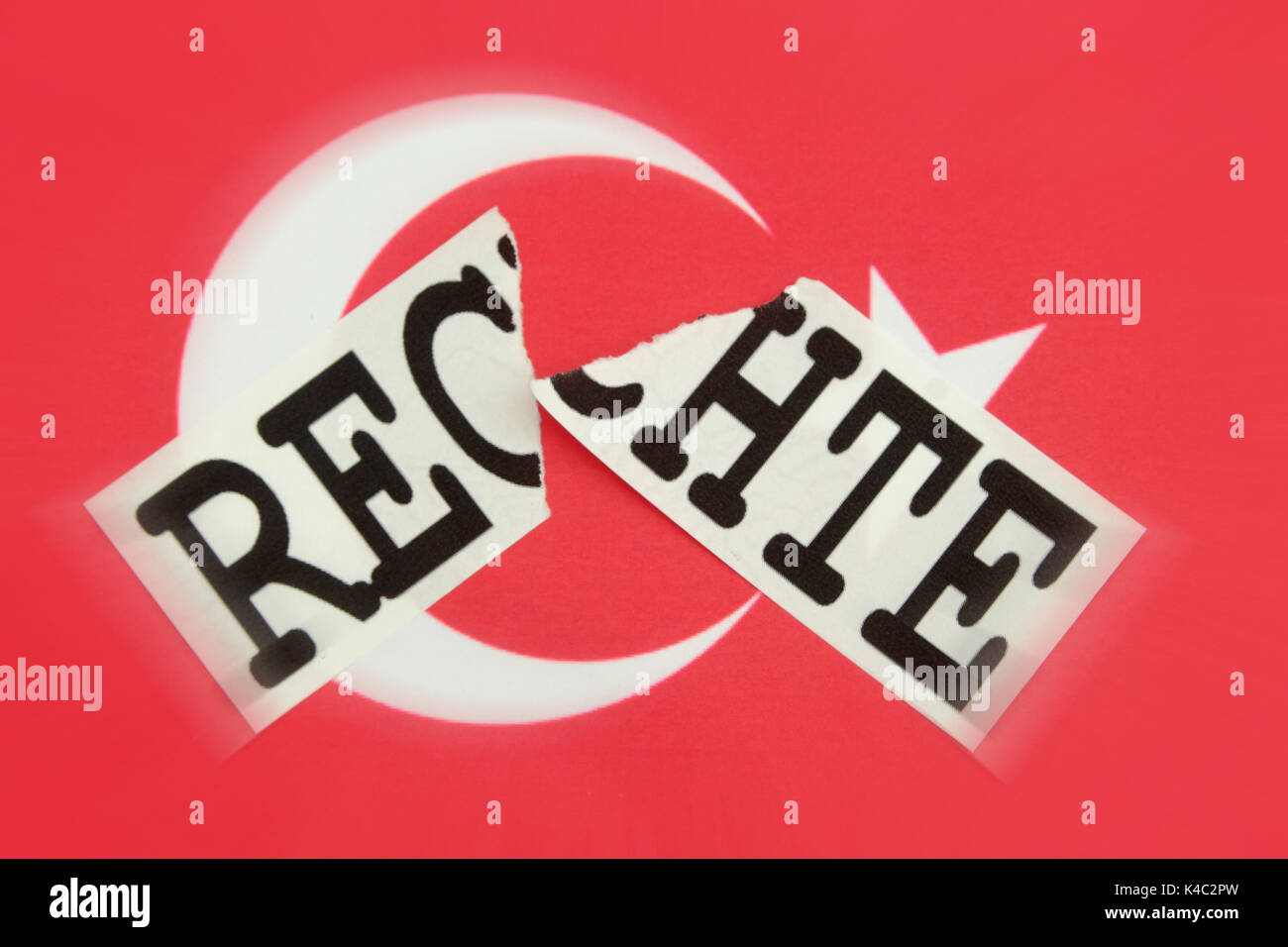Destroyed Word Rights With Flag Of Turkey - Stock Image