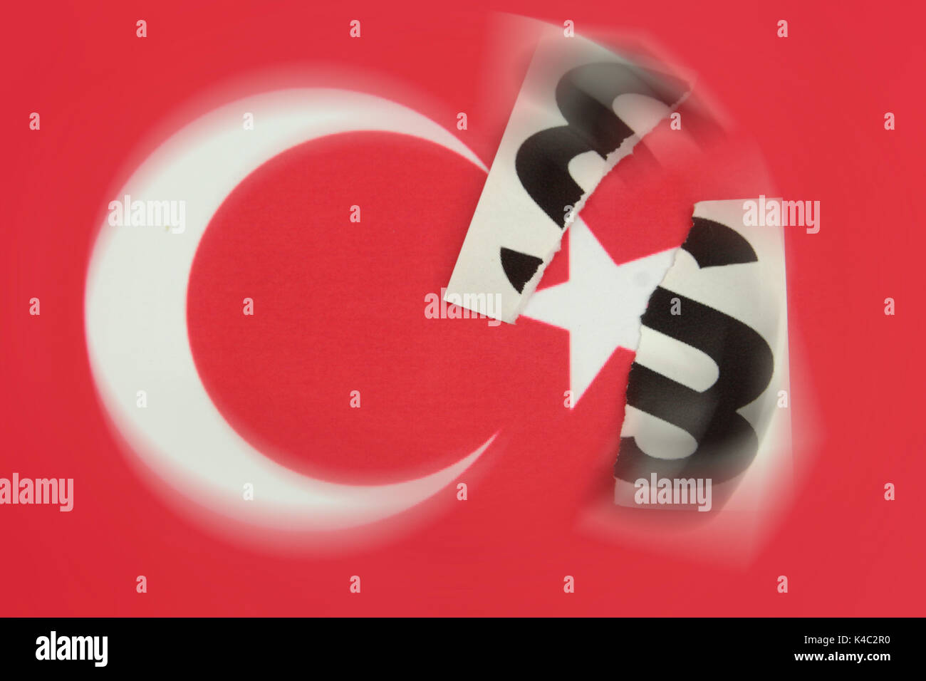 Destroyed Paragraph Sign With Flag Of Turkey - Stock Image