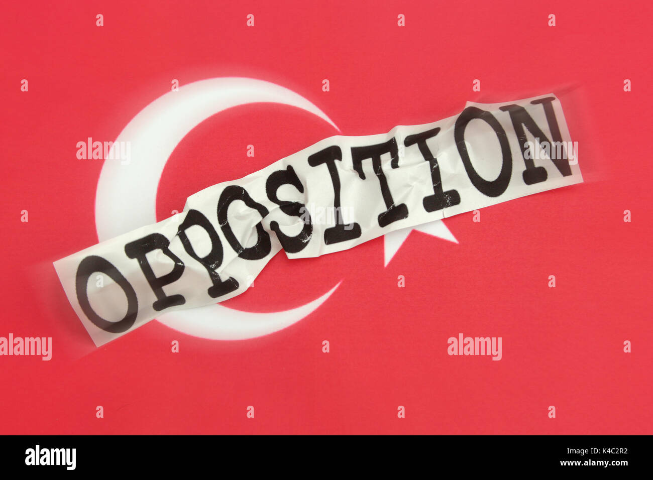 Destroyed Word Opposition With Flag Of Turkey Stock Photo