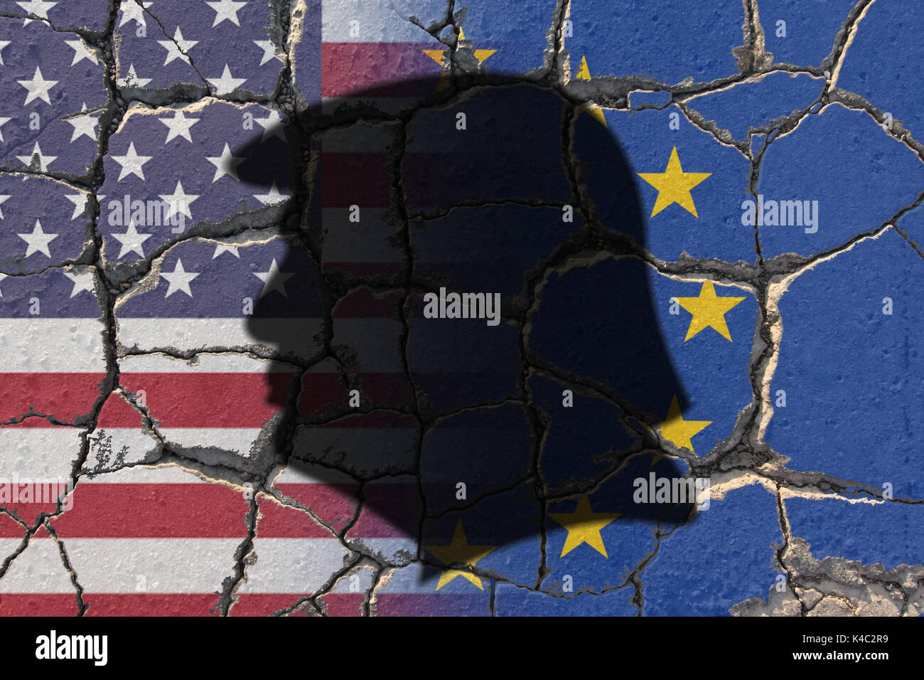Silhouette Of Donald Trump With Flags Of Usa And Eu European Union On Eroding Ground Stock Photo