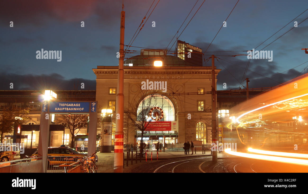 Mannheim Central Railway Station At Dusk - Stock Image