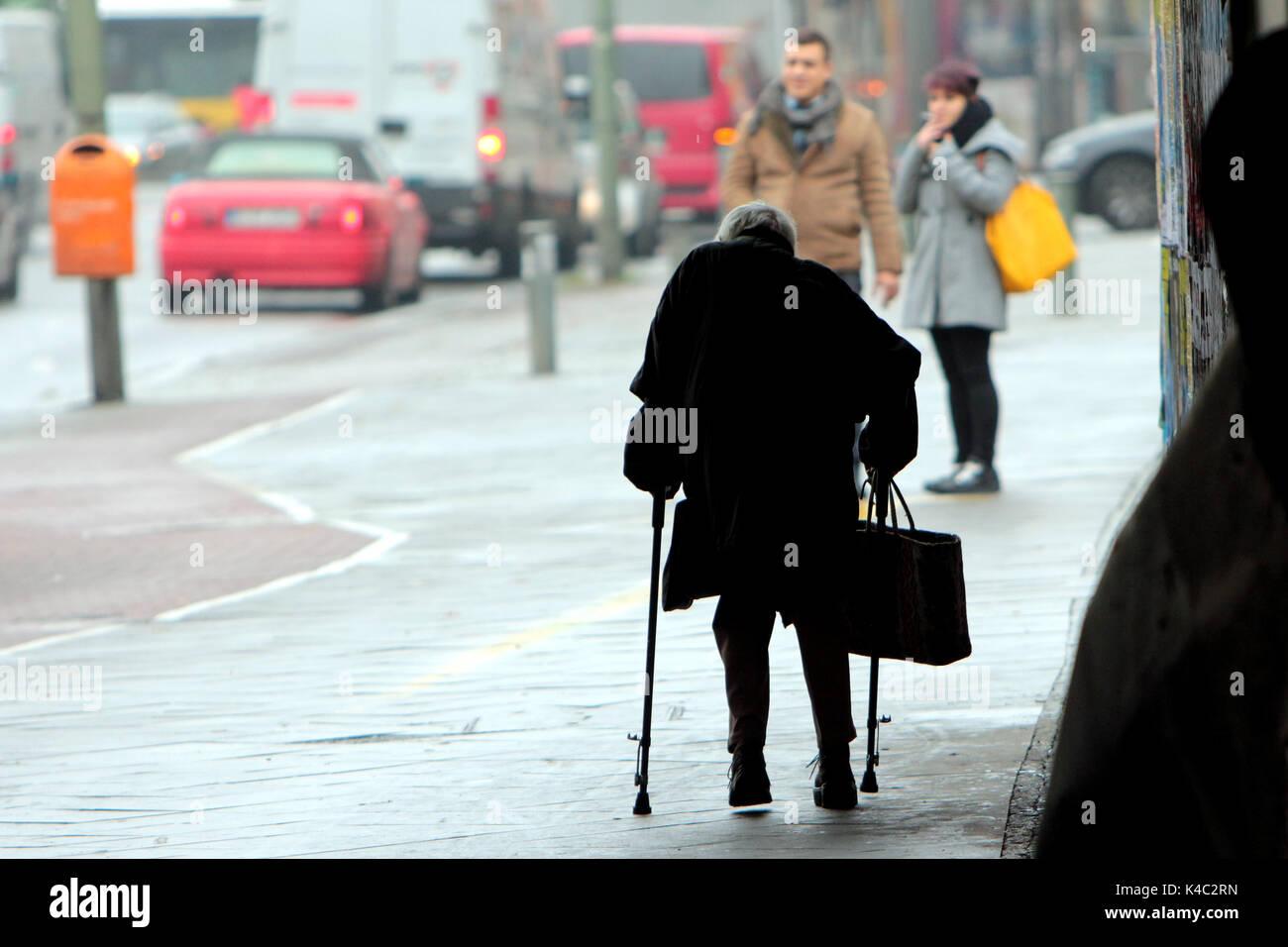 Silhouette Of An Elderly Woman In Berlin Stock Photo