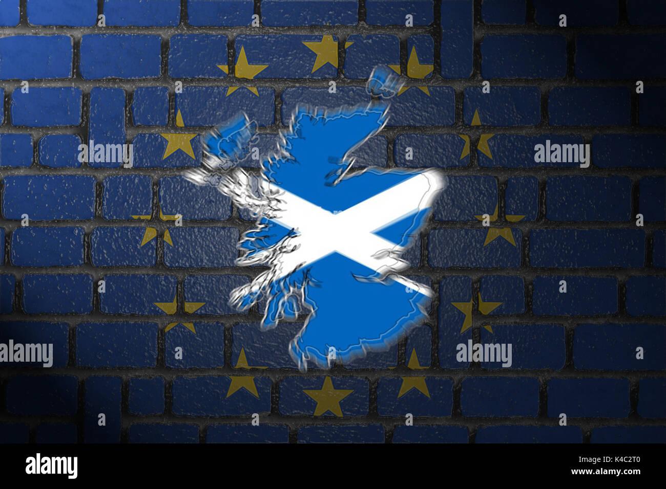 Silhouette Of Scotland With Eu European Union Flag And Wall Stock Photo