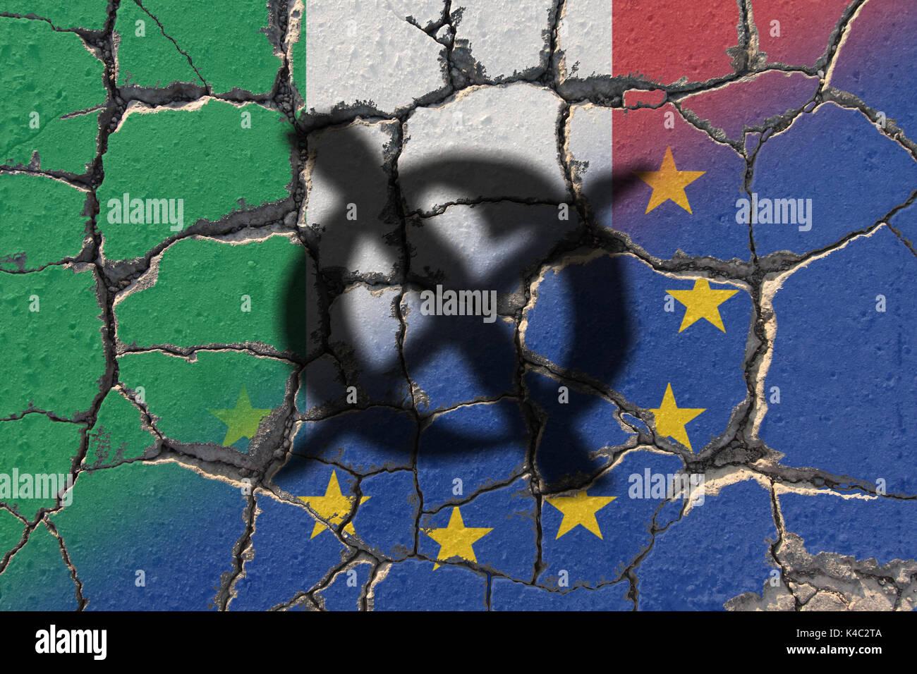 Referendum Italy Eroding Eu European Union And Italian Flags Stock Photo