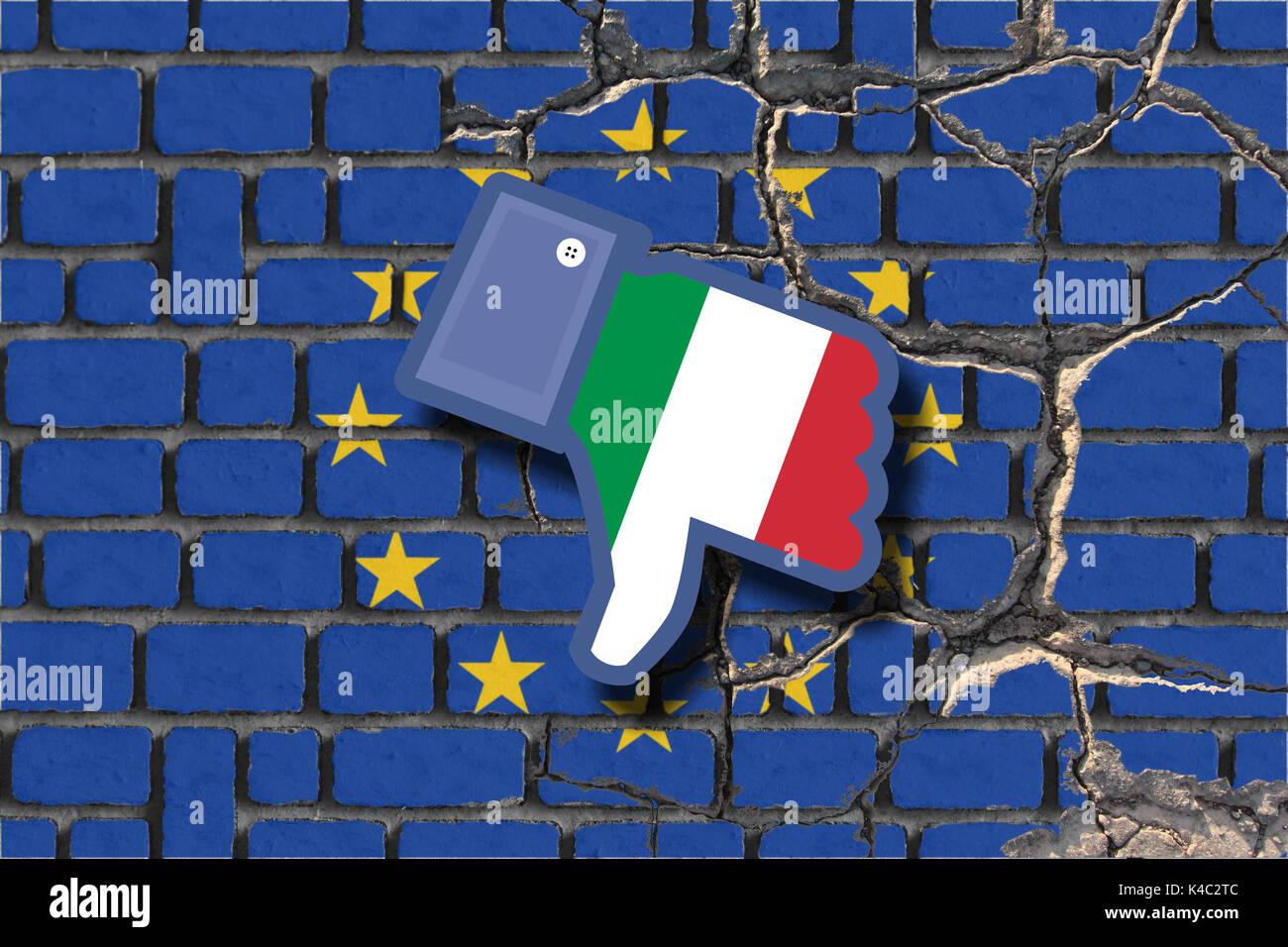 Referendum Italy Eroding Eu European Union Flag With Dislike Icon With Italian Flag Stock Photo