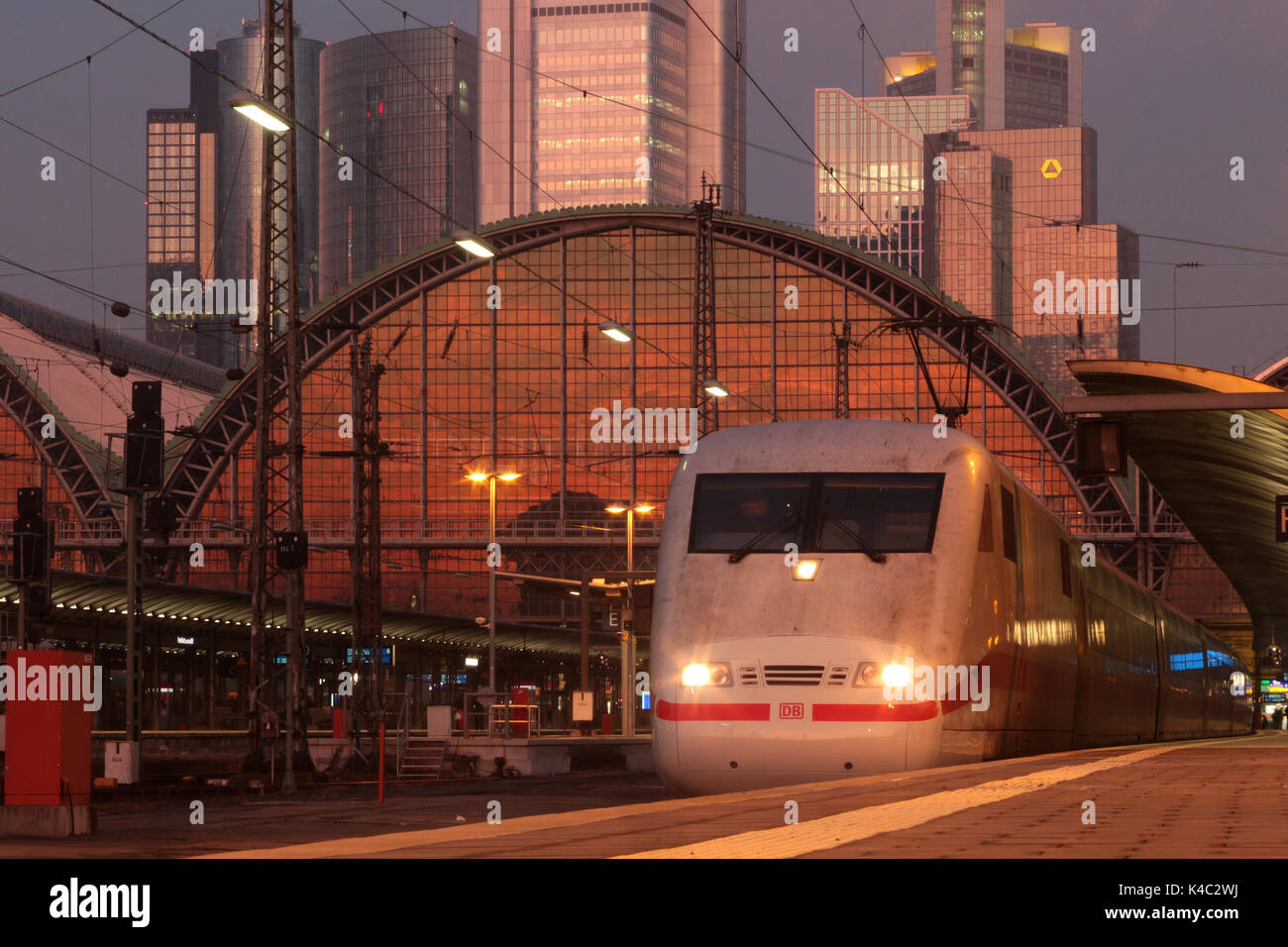 Intercity Express Ice Of Deutsche Bahn At Frankfurt Central Railway Station During Dusk - Stock Image