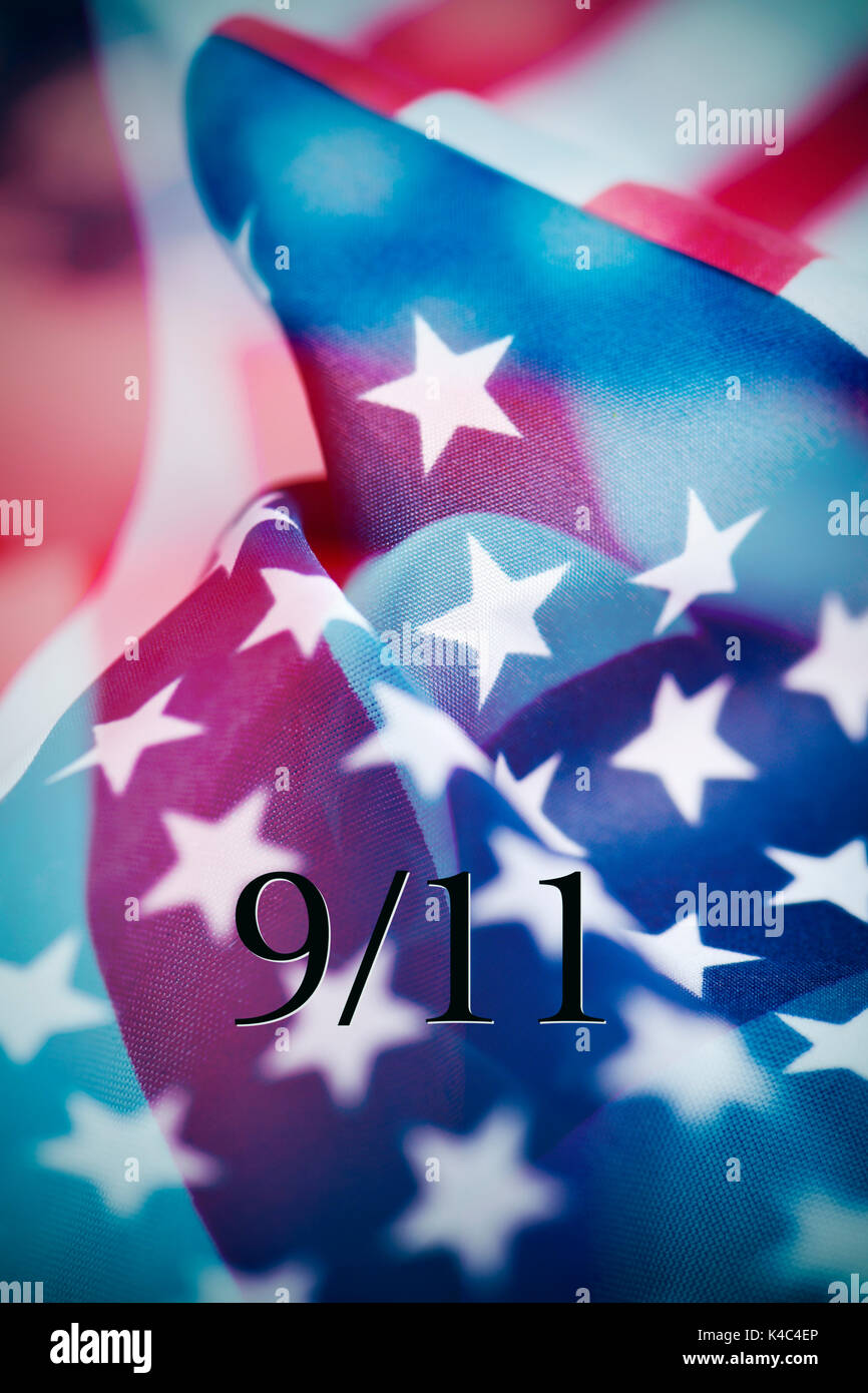 multiple exposures of different pictures of the flag of the United States of America, and the text 9/11 for the September 11 attacks - Stock Image