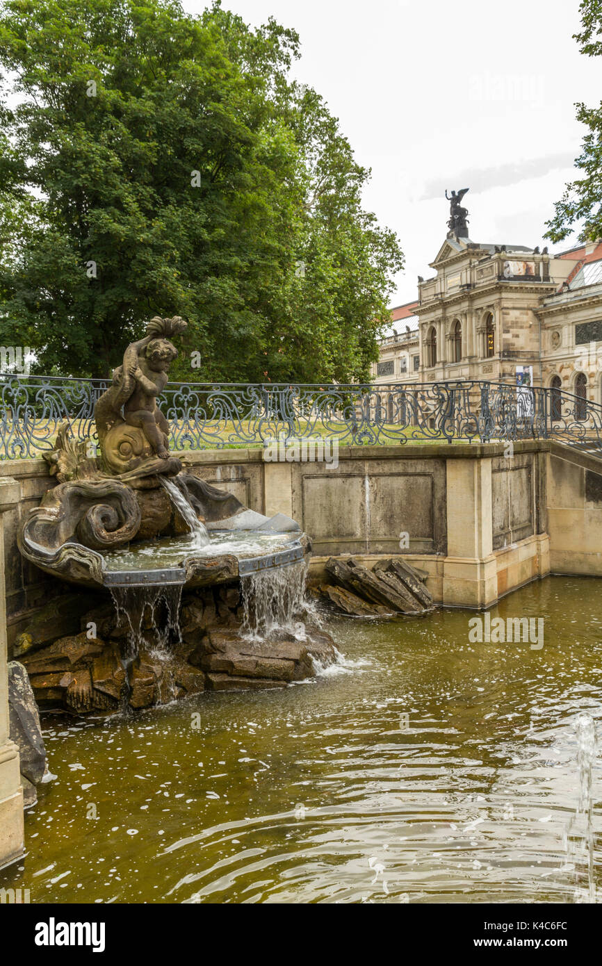 Dresden, Delphin Fountain, Fountain On The Brühl Terrace, Saxony, Germany, Europe - Stock Image