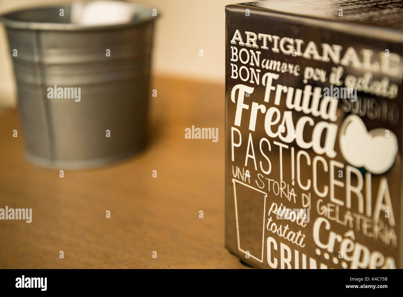 Paper napkin dispenser - Stock Image