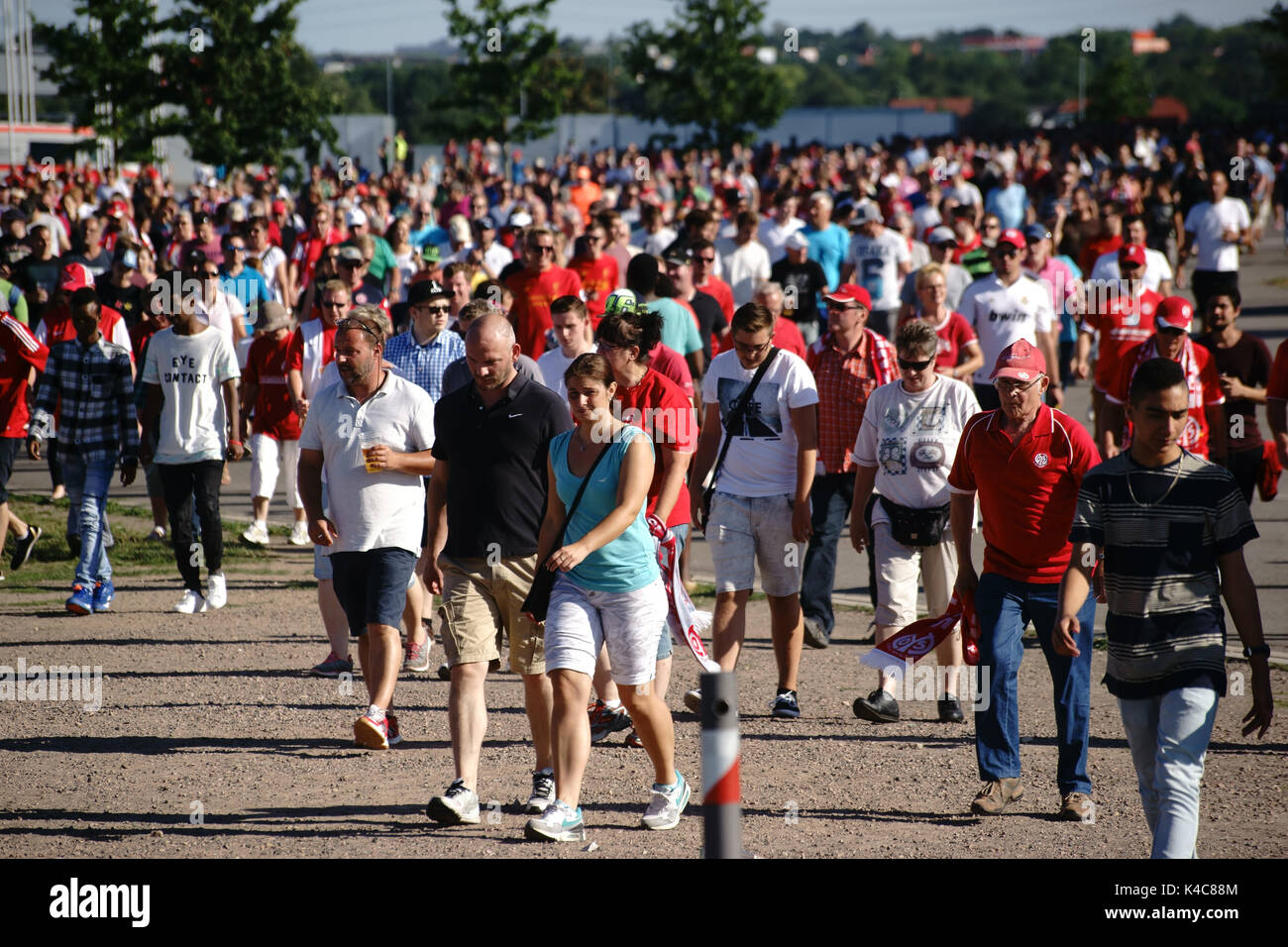 Soccer Fans Flock Out Of The Stadium - Stock Image