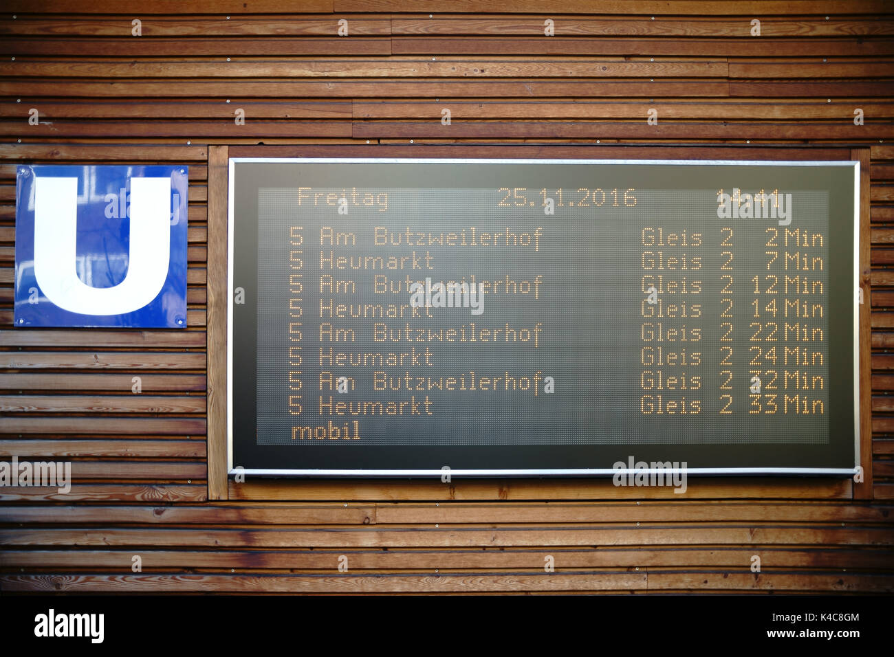 Digital Display Metro Cologne - Stock Image