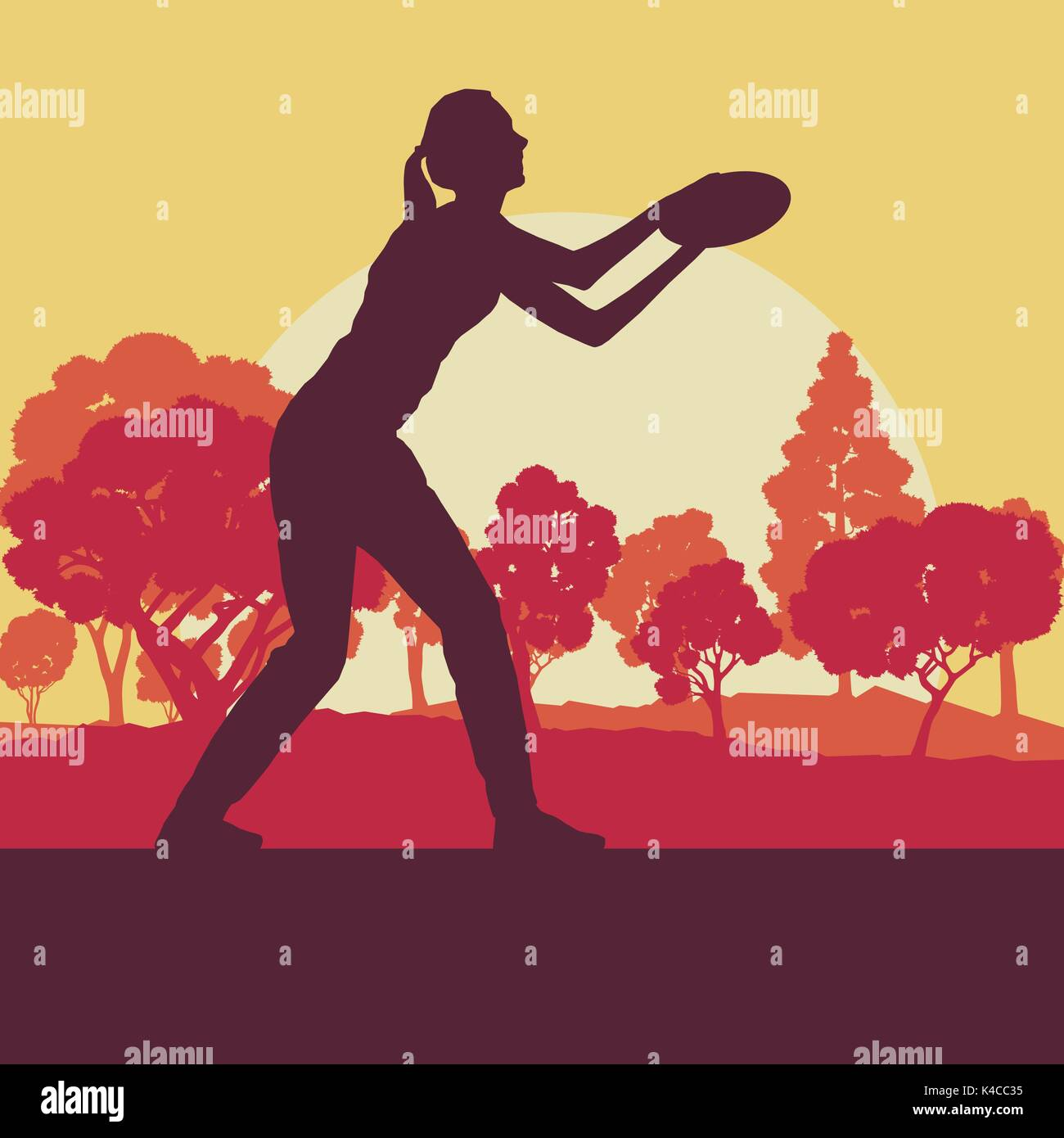 Flying disc throw game woman playing in park with trees vector background - Stock Vector