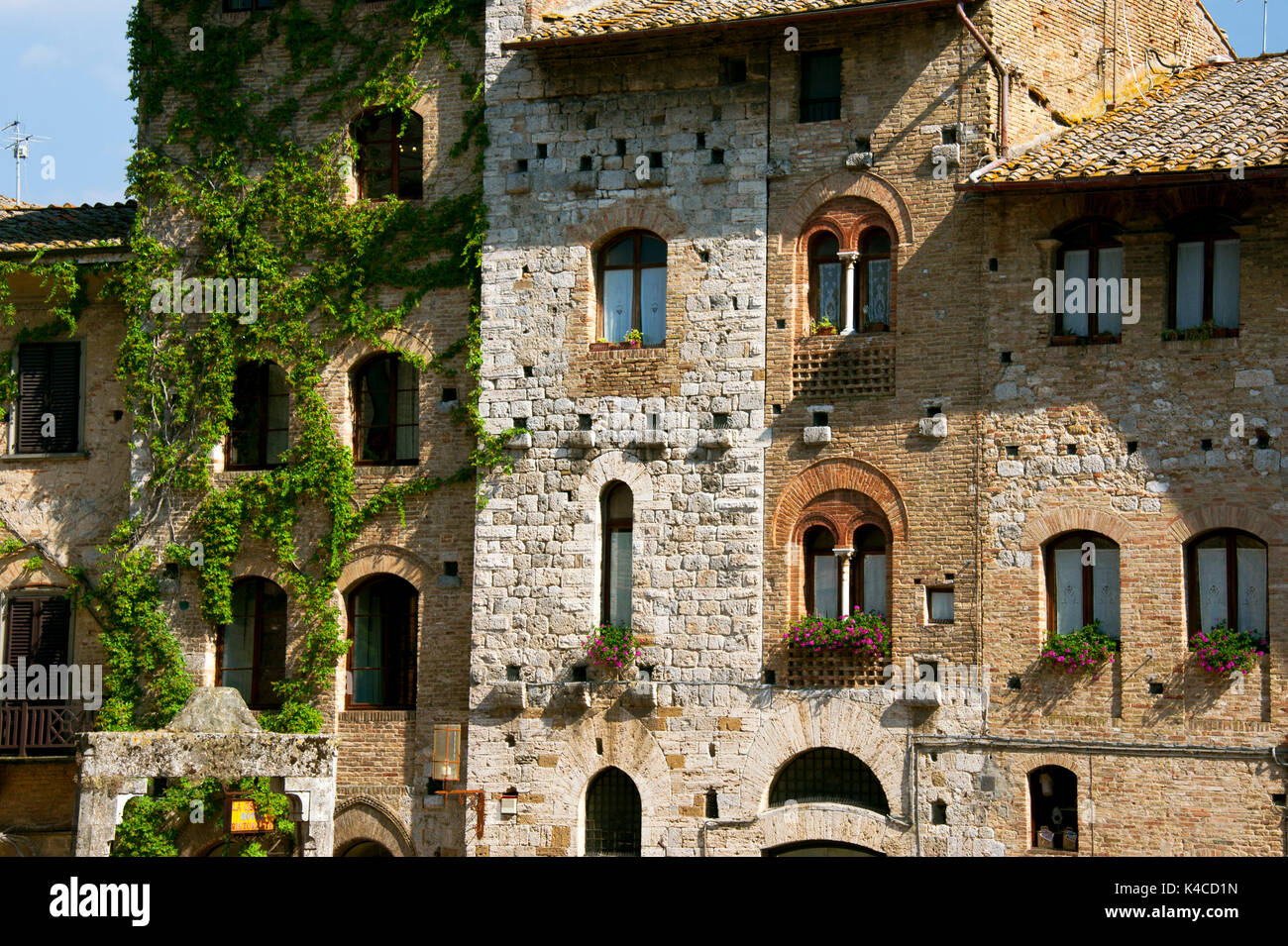 San Gimignano, Town And Tower House Of The Middle Ages, Tuscany, Italy - Stock Image