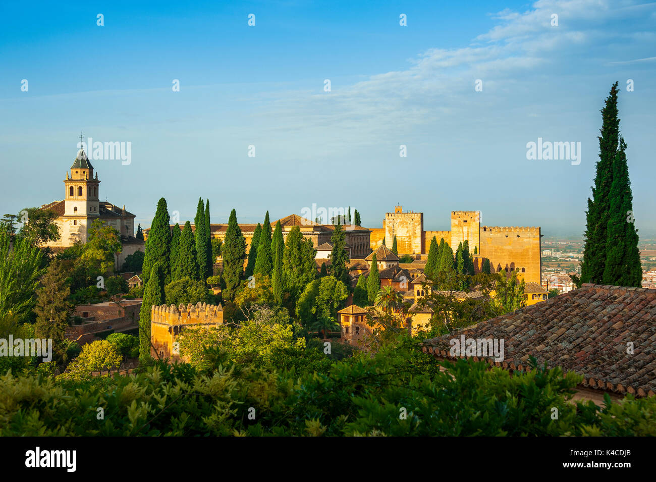 Alhambra In Granada, View In The Morning To The Nasrid Palace And The Alcazaba, Seen From The Gardens Of The Generalife, Stock Photo