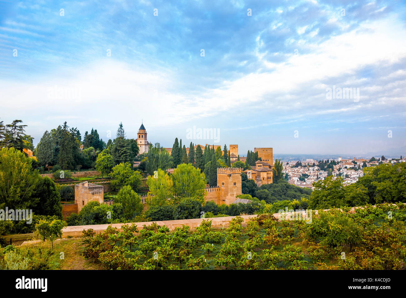 Alhambra In Granada, View To The Nasrid Palace And The Alcazaba, Seen From The Gardens Of The Generalife, Andalusia, Stock Photo