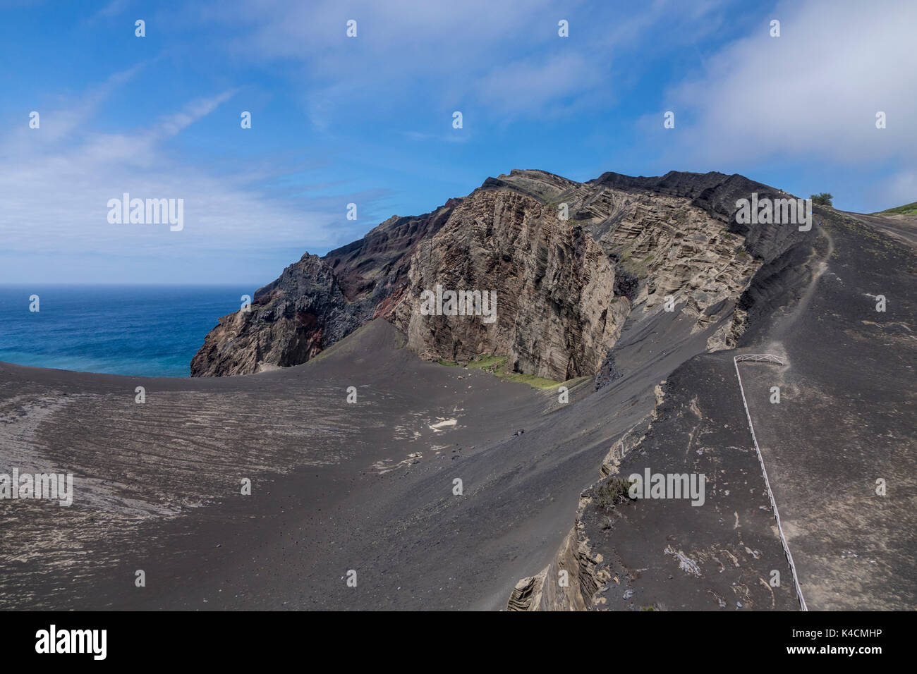 Desertic Land With Ridge, Mountain Of Ash And Volcanic Rocks At The Vulcao Dos Capelinhos On The West Tip Of Faial. Blue Sky White Clouds. Azores - Stock Image