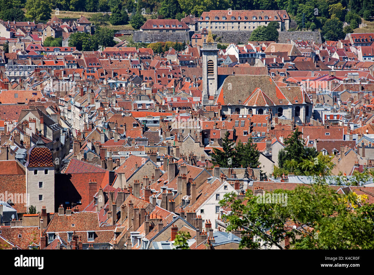 Bird's eye view over the old city and the église Saint-Pierre / St Peter's church of Besançon, Doubs, Bourgogne-Franche-Comté, France - Stock Image