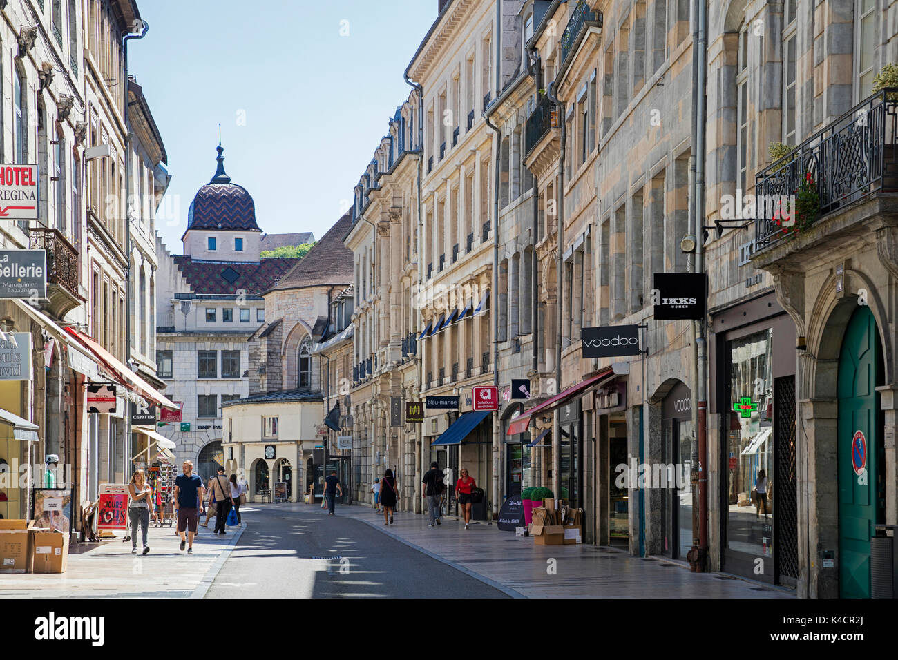 Shops in main street of the old city center of Besançon, Doubs, Bourgogne-Franche-Comté, France - Stock Image