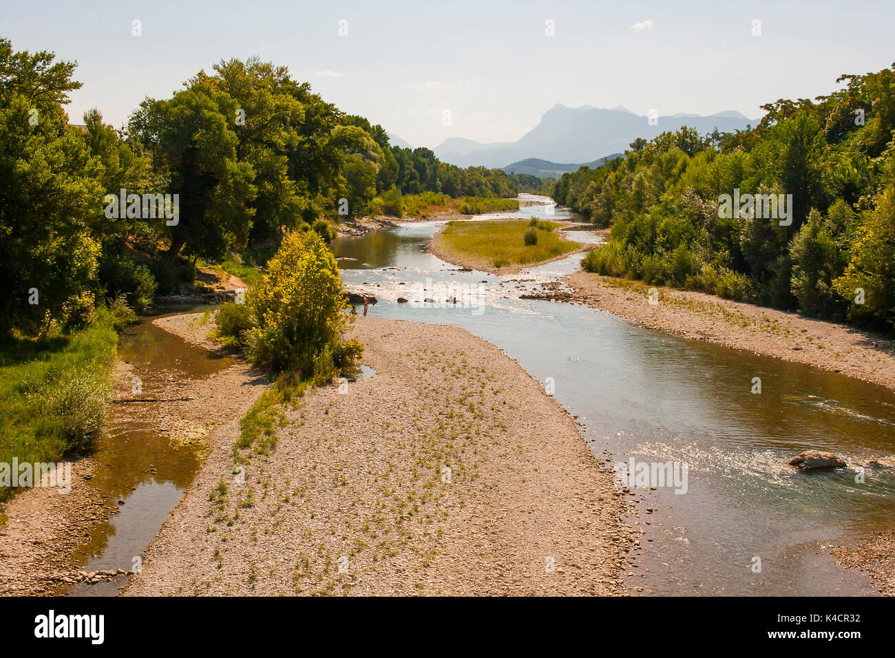A view of the Drome River in the South East of France at the height of summer when the river is at a low and shale Stock Photo