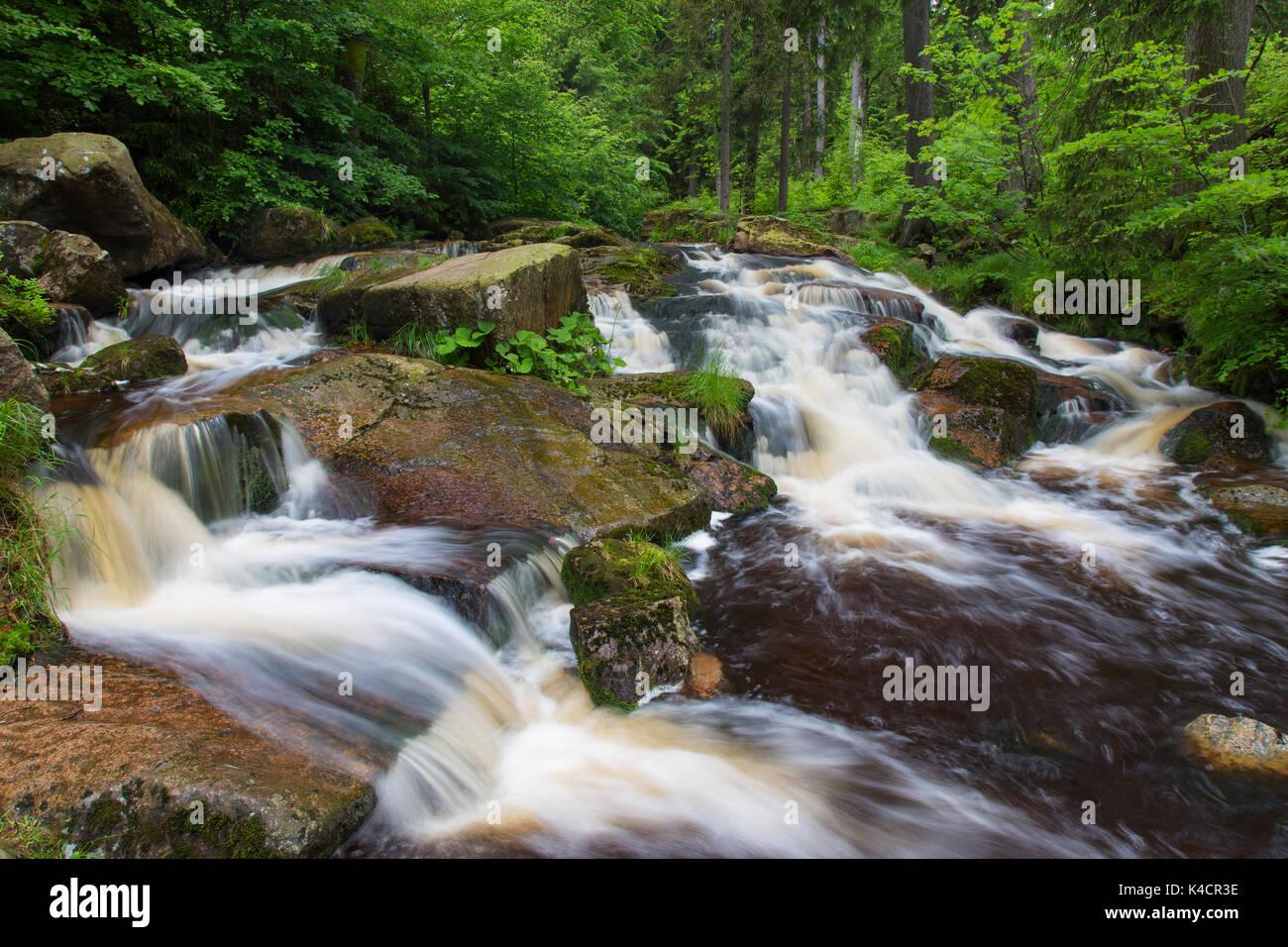 Untere Bodewasserfall / Waterfall Untere Bodefall / Lower Bodefall on the river Warme Bode near Braunlage, Harz National Park, Lower Saxony, Germany - Stock Image