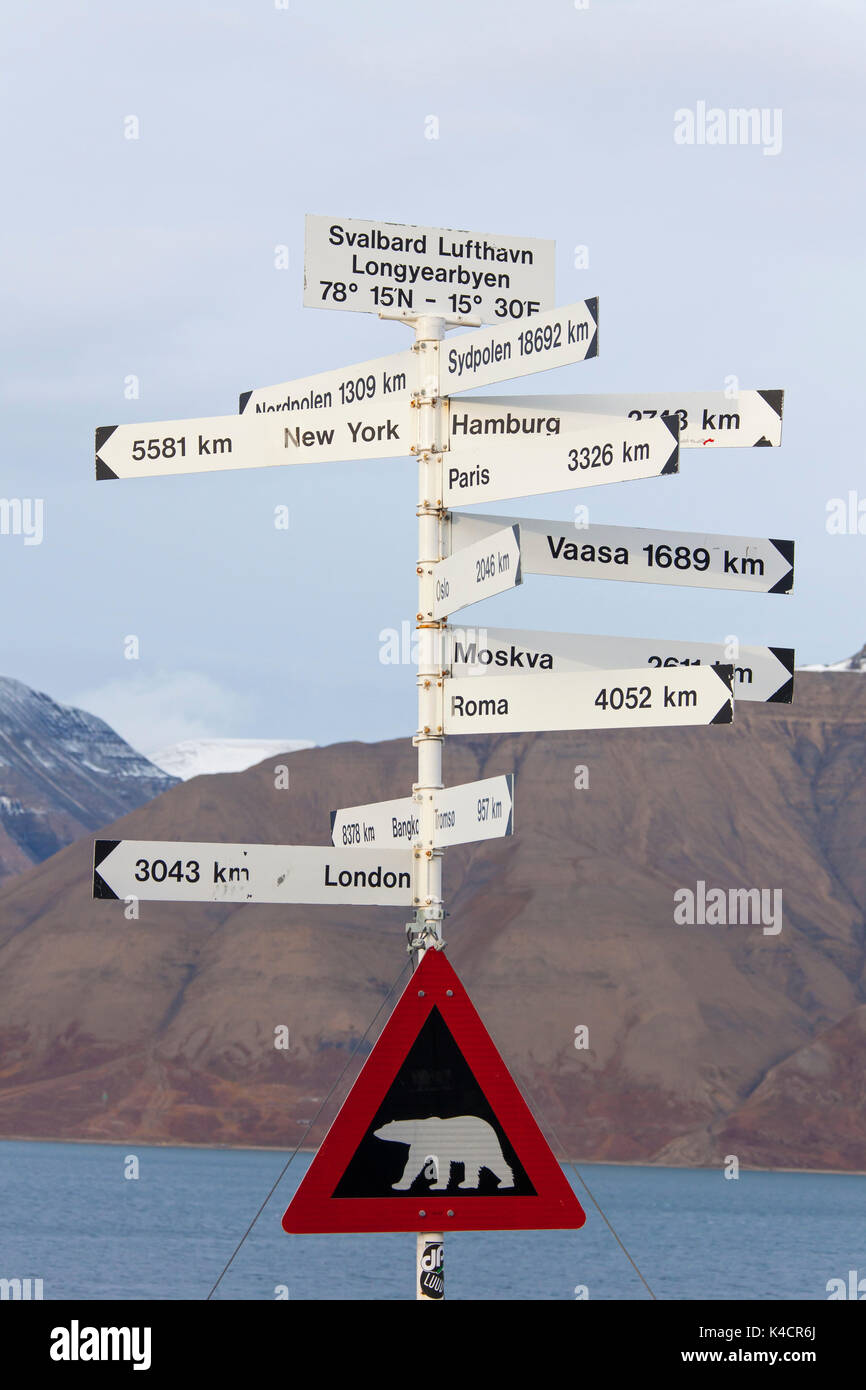 Signpost and Polar bear warning sign at Spitsbergen / Svalbard - Stock Image