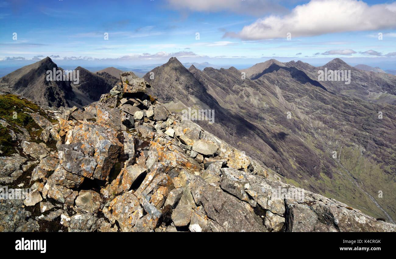 Along the Cuillin ridge to Sgurr nan Gillean - Stock Image