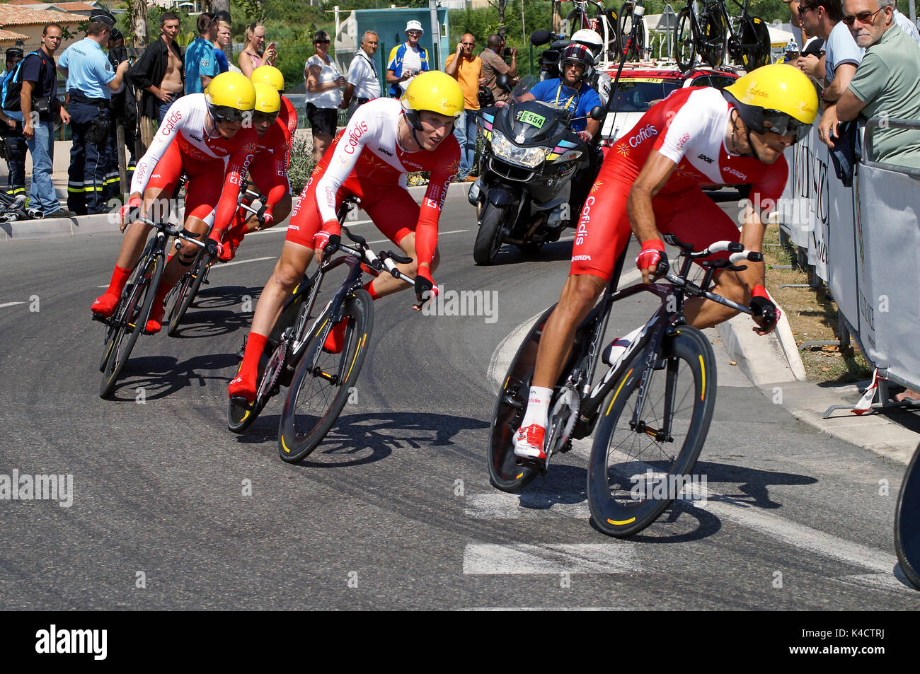 NICE - JULY 2ND : The TOUR 2013  (Tour de France) . COFIDIS Solutions Credits Team during Nice/Nice Stage 4 (25 km). - Stock Image