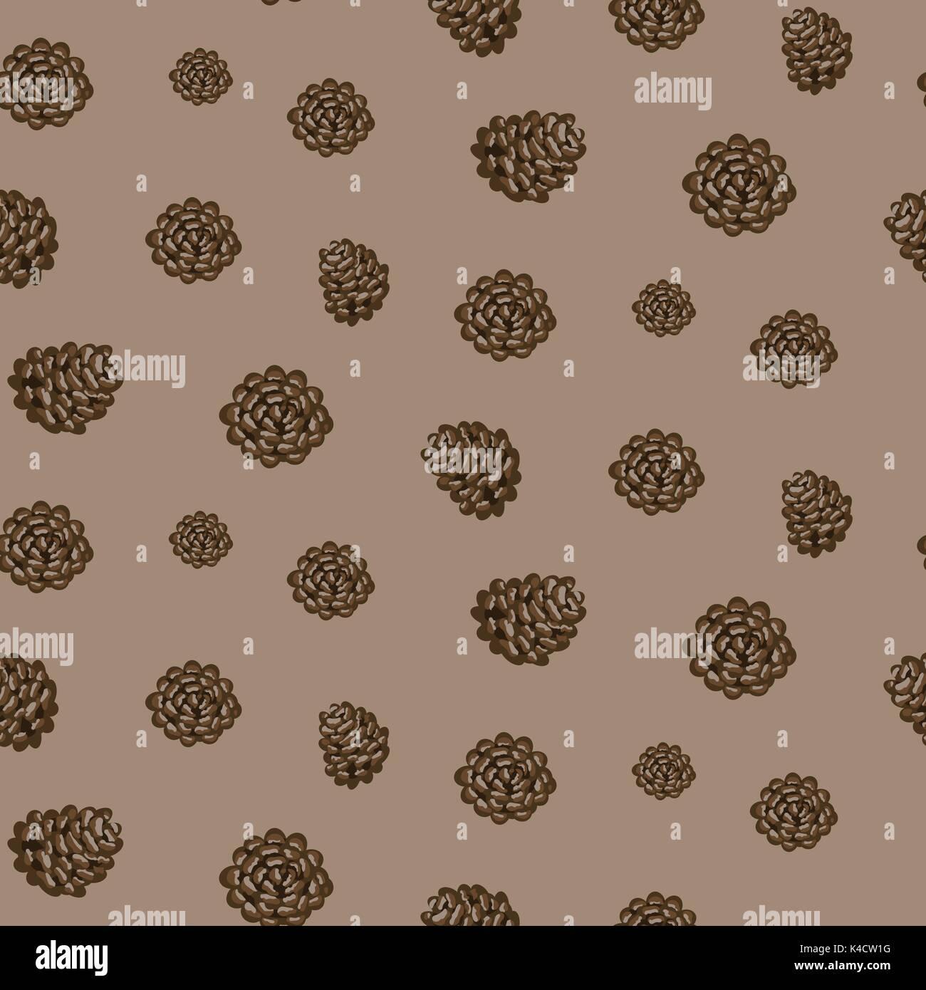 Fir cones seamless vector brown background pattern. - Stock Vector