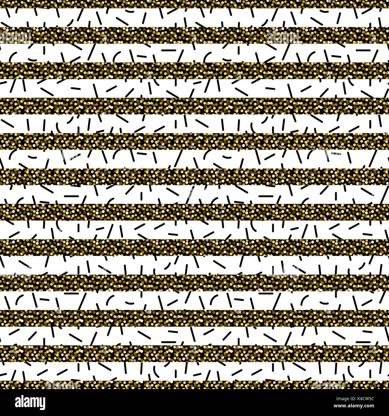 Glitter stripes and black thin particles seamless pattern. - Stock Image
