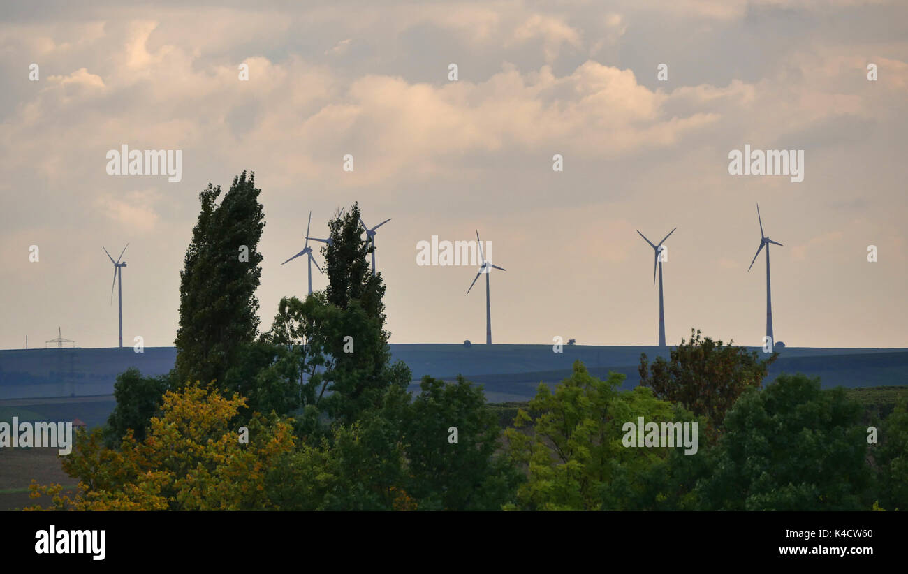 Landscape In Rhinehesse With Wind Wheels - Stock Image