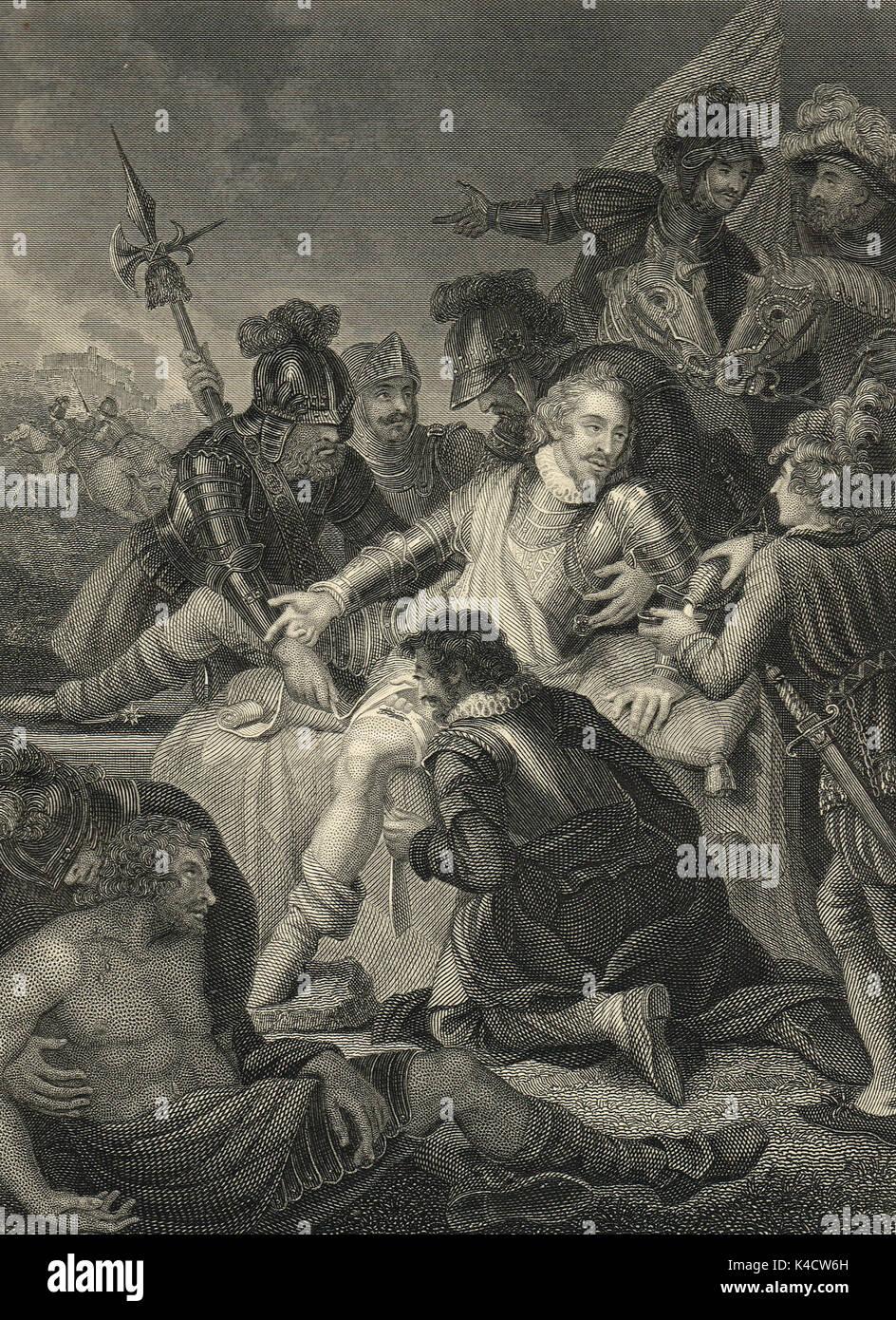 Death of Sir Philip Sidney, Battle of Zutphen, 1586 - Stock Image