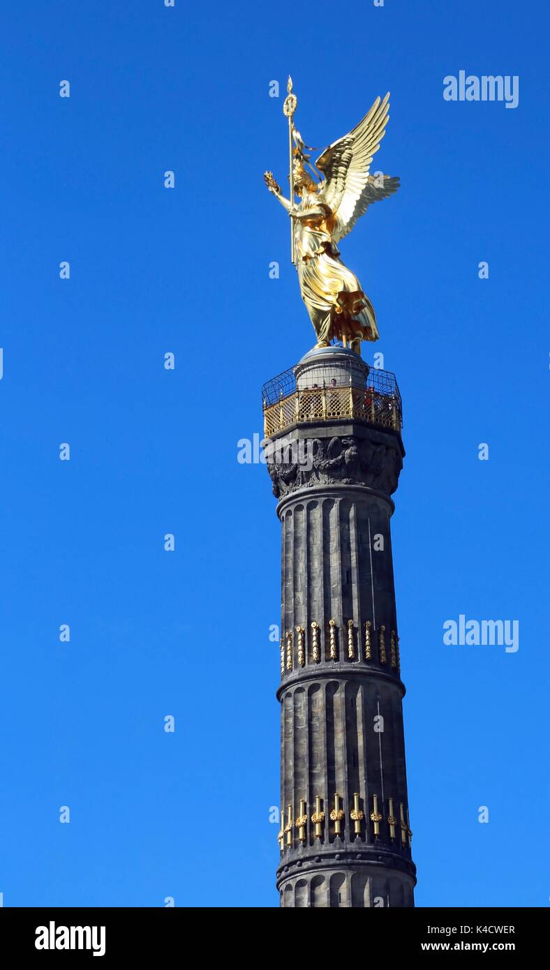 Victory Column is a famous monument in Berlin, Germany  to commemorate the Prussian victory in the Danish-Prussian war - Stock Image