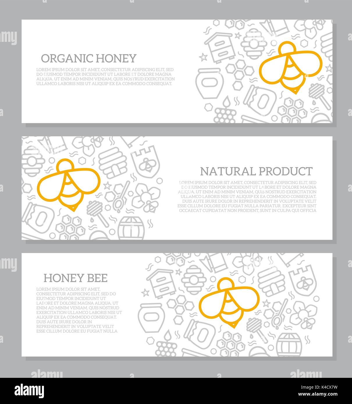 Set of three digital honey and bee horizontal banners with icon pattern. Vector illustration - Stock Vector