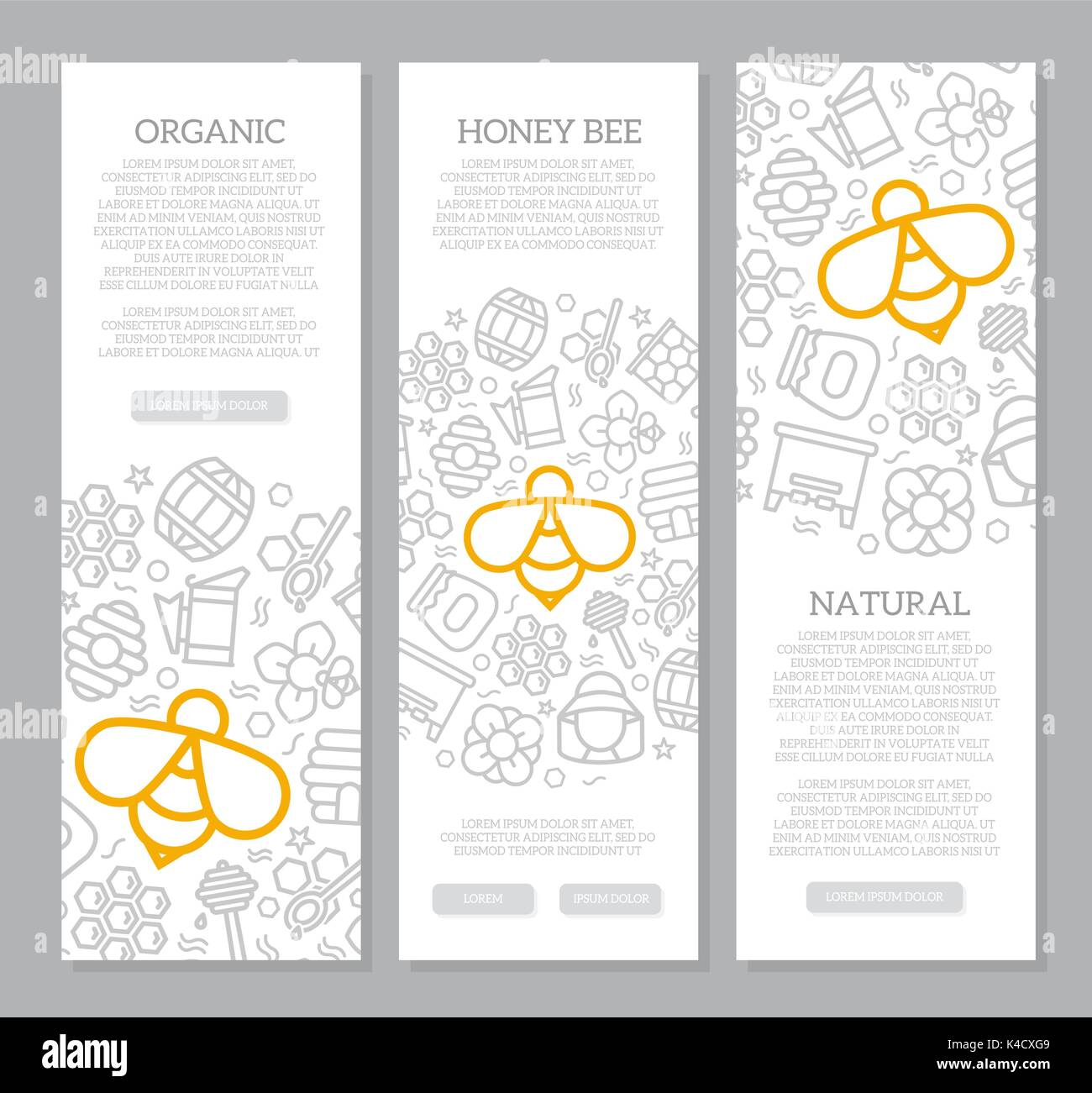 Set of three digital honey and bee vertical banners with icon pattern. Vector illustration - Stock Vector