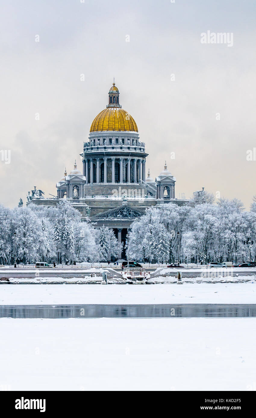 Saint Isaac's Cathedral in winter, Saint Petersburg, Russia Stock Photo