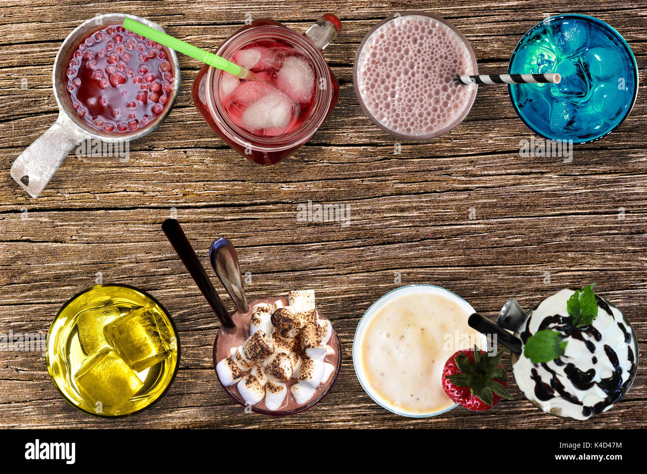 Summer drinks. Lingonberry Drink; İced cherry juice; Blue curaçao; Chocolate Milkshakes; Cocktail Friday; Ice blended chocolate drink; Iced tea; Straw - Stock Image