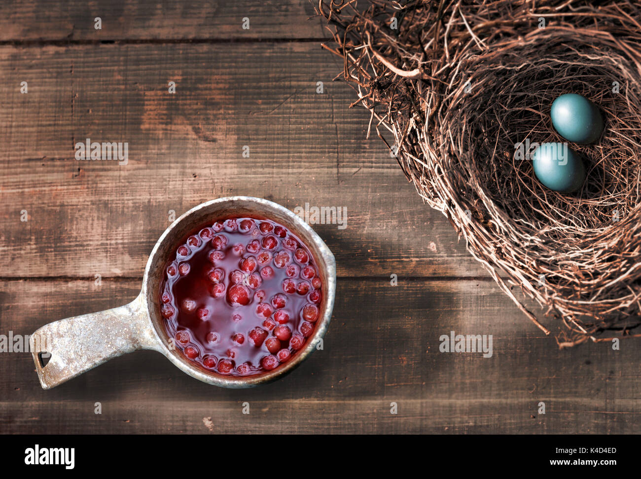 Lingonberry Drink and Bird Eggs - Stock Image