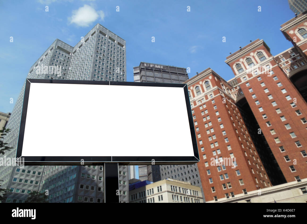 Pittsburgh, Pennsylvania Blank white billboard - Stock Image