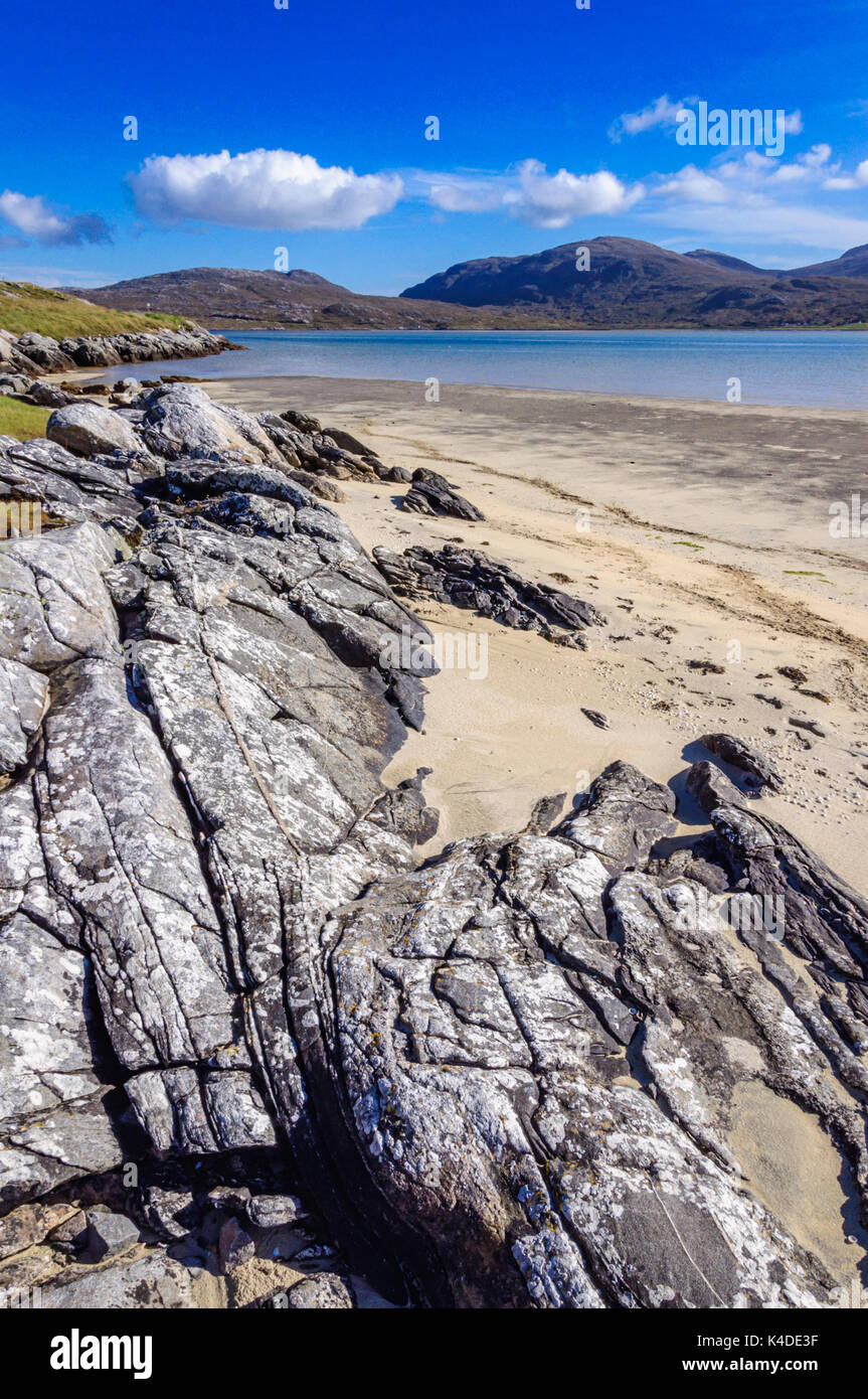 Luskentyre beach on the west coast of the Isle of Harris, Outer Hebrides, Scotland, UK on a bright sunny afternoon - Stock Image
