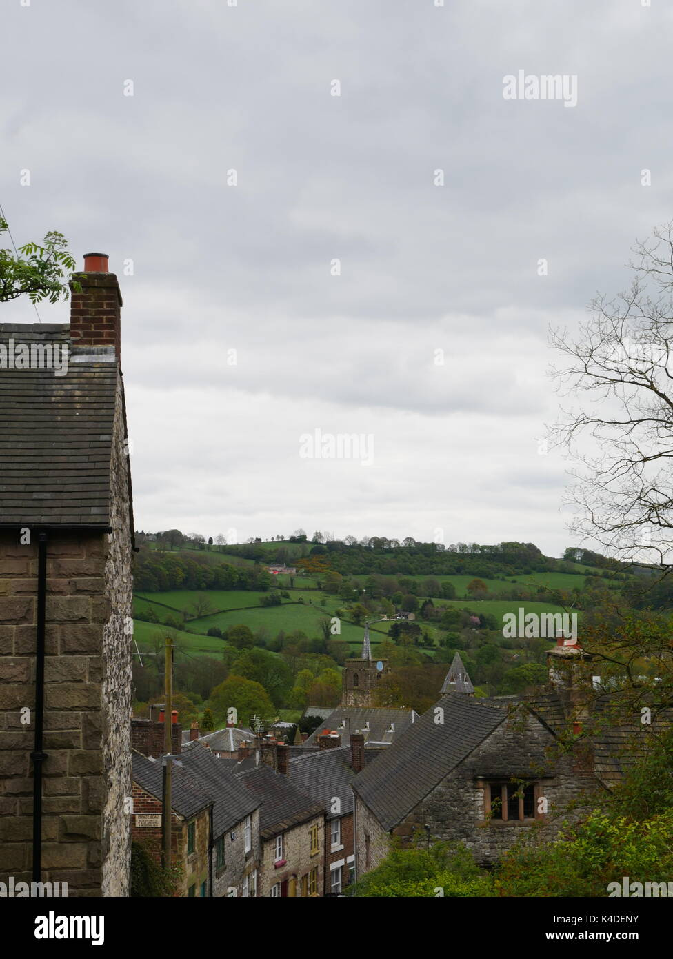 A view of the rooftops in the market town of Wirksworth, Derbyshire Dales - Stock Image