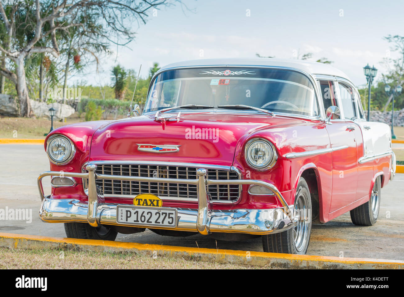 Restored 1956 red and white Chevrolet now used as a taxi in Cuba. Stock Photo