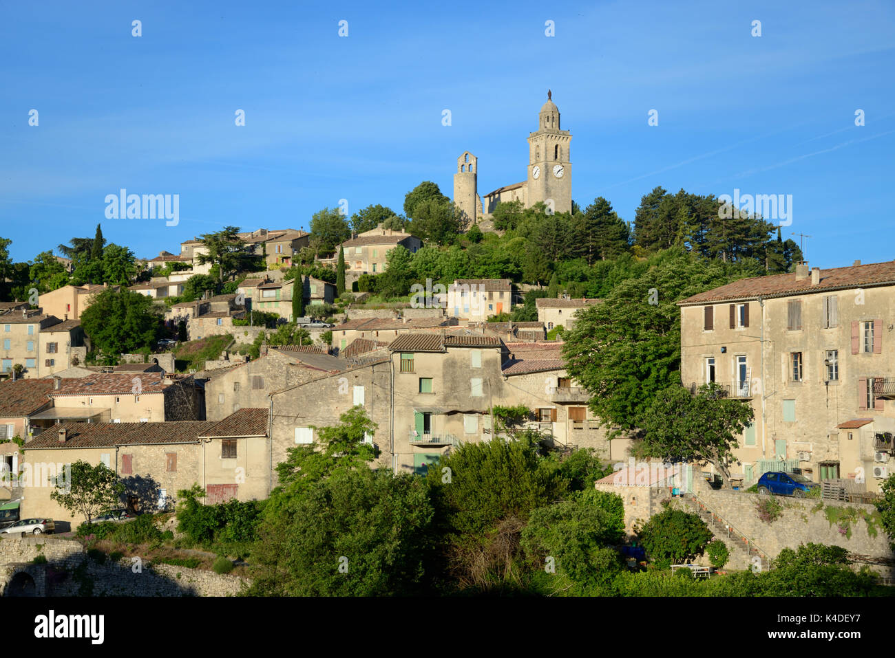 View over Village of Reillanne from the East Luberon Provence - Stock Image