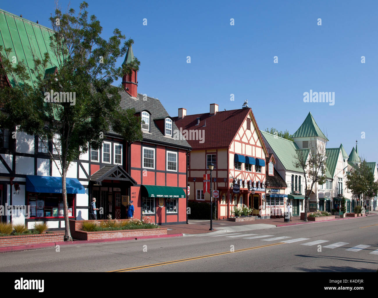 Founded in 1911 by Danes, Solvang's 12-block downtown is a concentrated collection of Danish farm-style architecture. - Stock Image