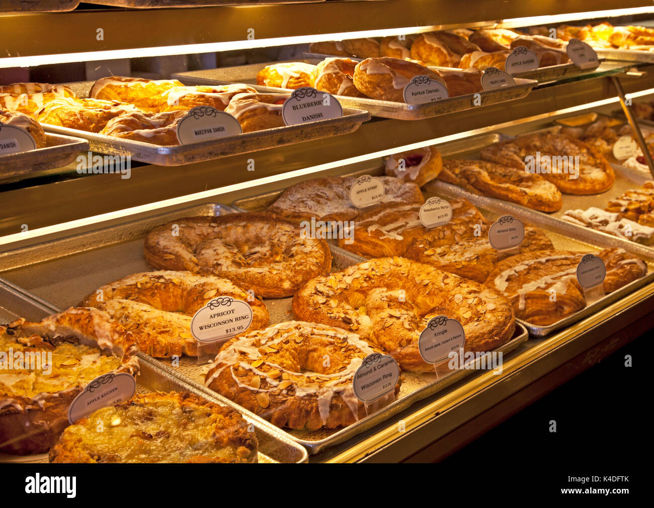 The array of Danish pastries, from cookies and kringles to aebleskiver and torts, is overwhelming in all of Solvang's Danish bakeries. - Stock Image